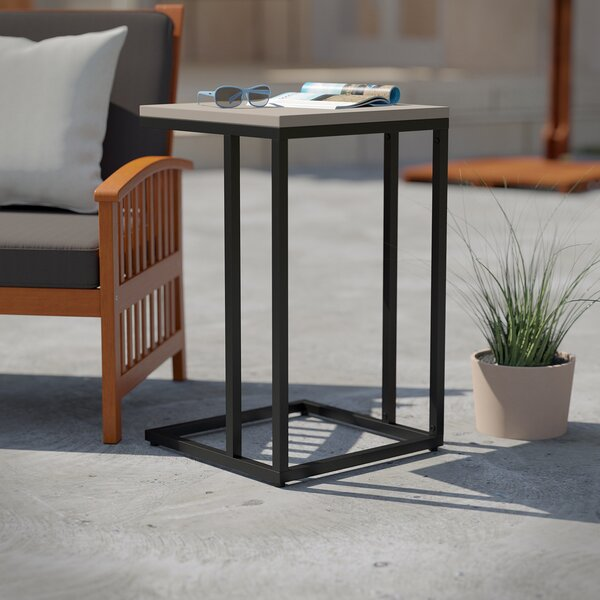 Concetta Stone/Concrete Side Table by Wrought Studio