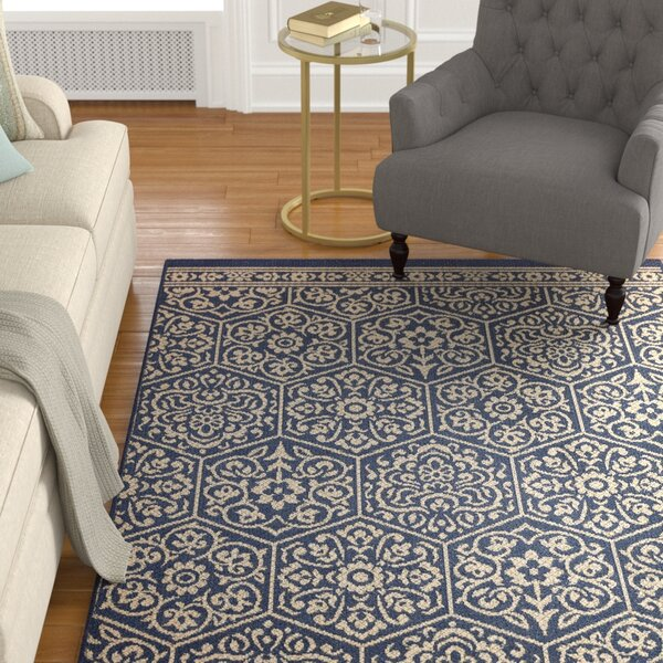 Barker Navy Area Rug by Alcott Hill