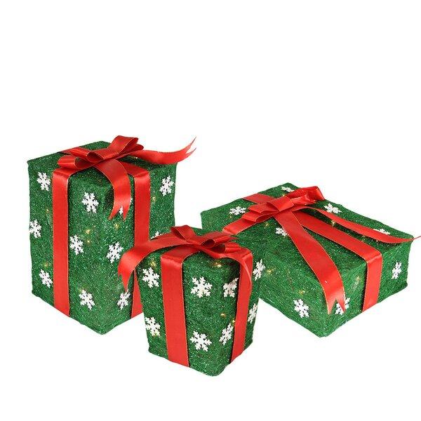 3 Piece Snowflake Sisal Gift Box Lighted Christmas Decoration by Northlight Seasonal