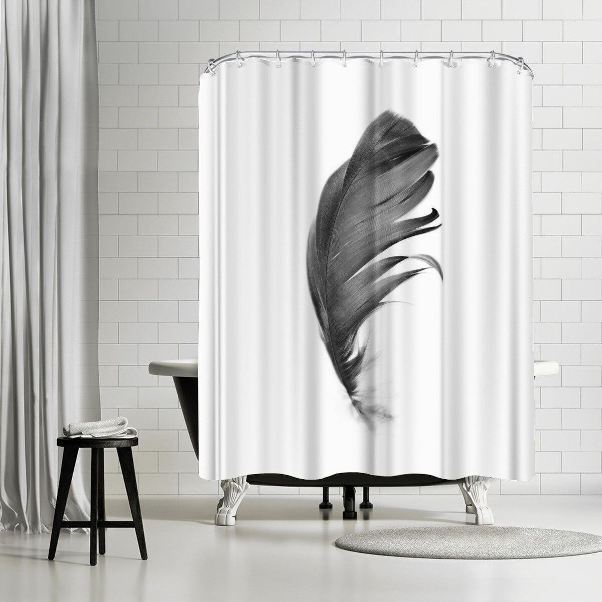 East Urban Home Sisi And Seb Feather Single Shower Curtain Wayfair