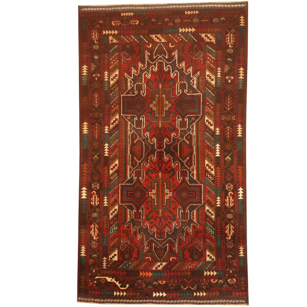 Prentice Hand-Knotted Red/Navy Area Rug by Isabelline
