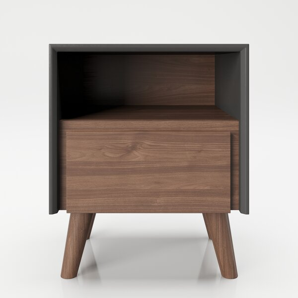 Victoria 1 - Drawer Nightstand In Walnut/Gray By PLAYBOY
