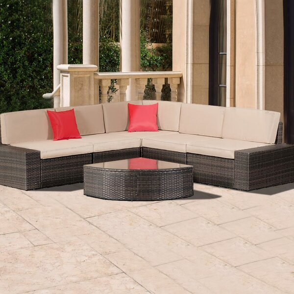Bodin 6 Piece Rattan Sectional Seating Group with Cushions by Brayden Studio
