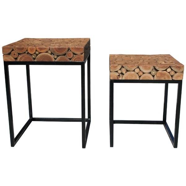 Nickolas Teak 2 Piece Nesting Tables (Set Of 2) By Foundry Select