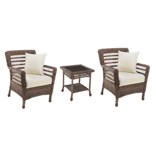 Domingo Modern 3 Piece Rattan Seating Group with Cushions by Bay Isle Home