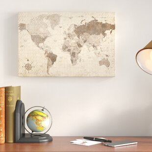 World map wall art distressed world map rectangle graphic art print on canvas gumiabroncs Images
