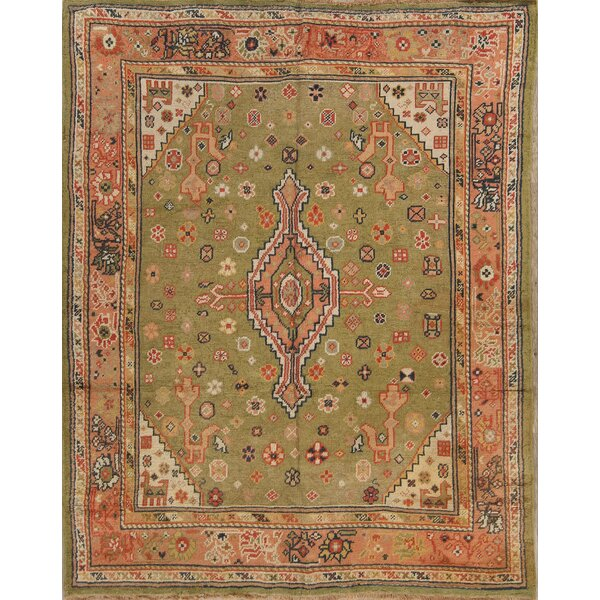 Woburn Antique Oushak Turkish Oriental Floral Hand-Knotted Wool Beige/Green Area Rug by Bloomsbury Market