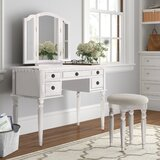 Torrance Vanity Set with Stool and Mirror by Three Posts