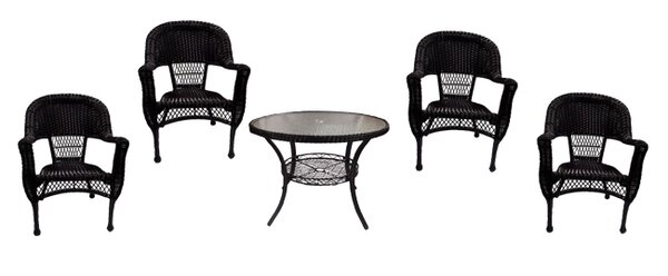 5 Piece Resin Wicker Patio Dining Set by LB International