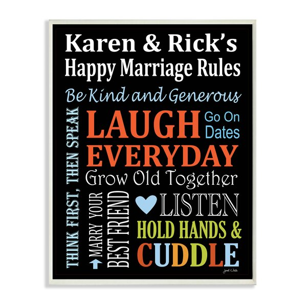 Personalized Happy Marriage Rules Rainbow by Janet White Chalkboard Textual Art Plaque by Stupell Industries
