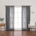 Natasha Linen Solid Sheer Tie Top Single Curtain Panel