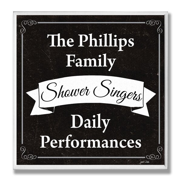 Personalized Bathroom Rules Shower Singers by Janet White Chalkboard-look Textual Art Plaque by Stupell Industries