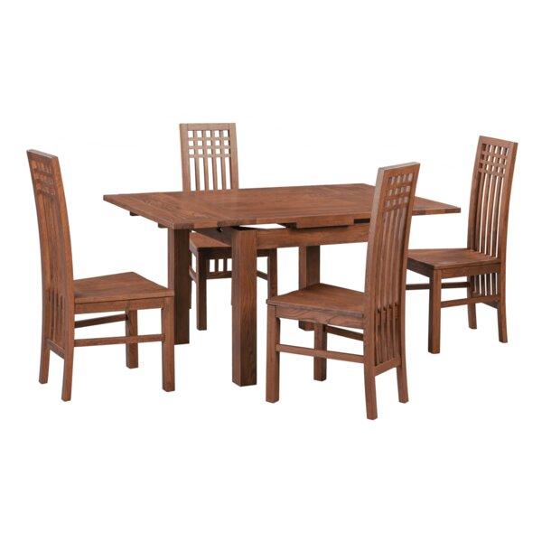 Koome 5 Piece Extendable Solid Wood Dining Set by Loon Peak Loon Peak