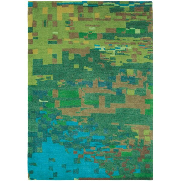Thelma Hand-Knotted Wool Teal/Pear Area Rug by Bloomsbury Market