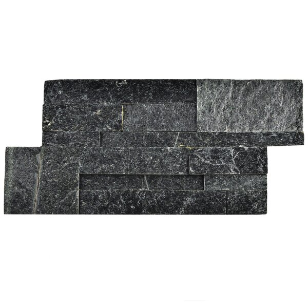 Piedro 7 x 13.5 Natural Stone Splitface Tile in Black by EliteTile