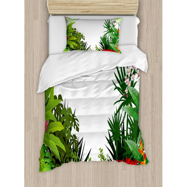 Leaf Hibiscus Plumeria Crepe Gingers Anthurium Leaves Blossoms Duvet Set by Ambesonne