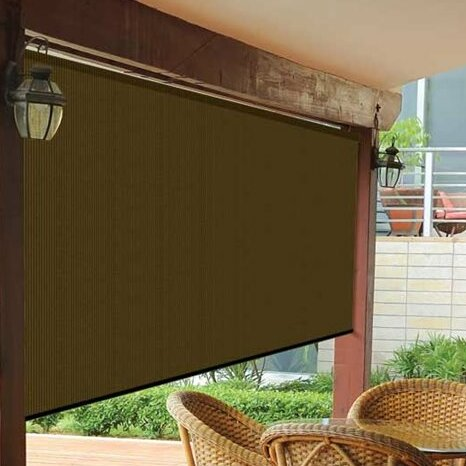 Semi-Sheer Mocha Outside Roller Shade by Coolaroo