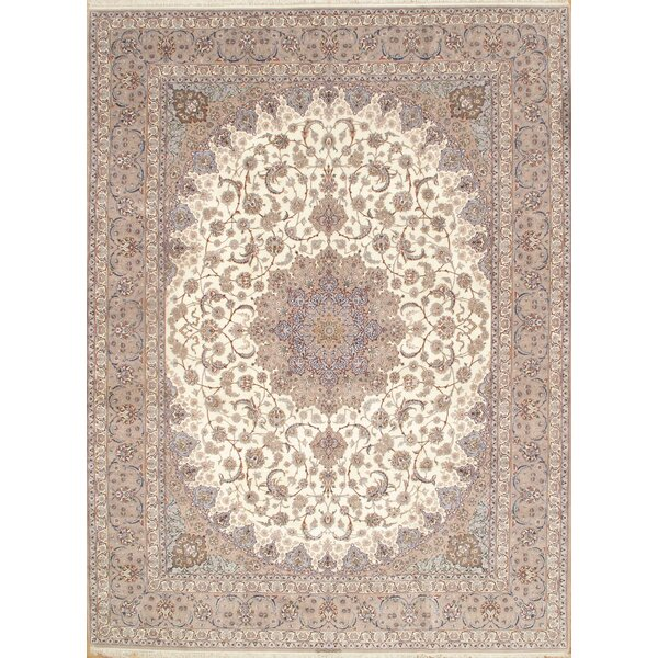 Beige Persian Isfahan Silk & Wool 9'.11'' X 13'.4''