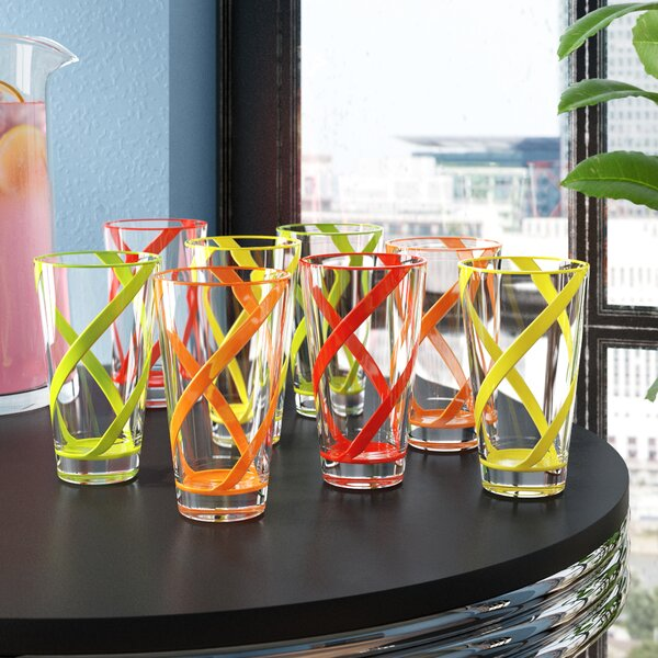 Kruse 8-Piece 22 oz. Acrylic Drinking Glass Set (Set of 8) by Latitude Run