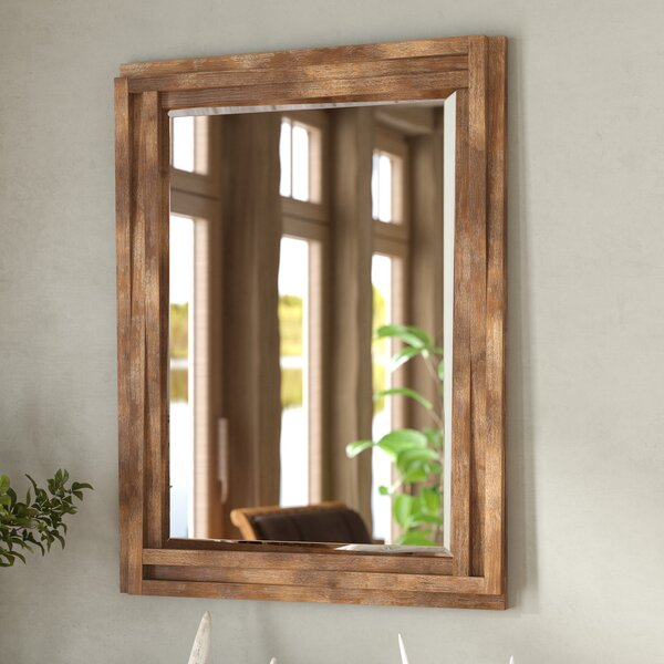 Rectangle Brown Reclaimed Wood Wall Mirror by Loon Peak