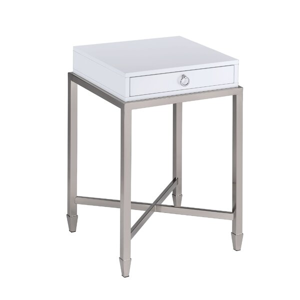 Woodman 1-Drawer Brushed Nickel End Table with Storage by Orren Ellis