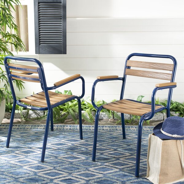 Shears Stacking Patio Dining Chair (Set of 2) by Breakwater Bay