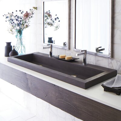 Native Trails Rectangular Sink Slate Faucet Mount No Faucet Hole Bathroom Sinks