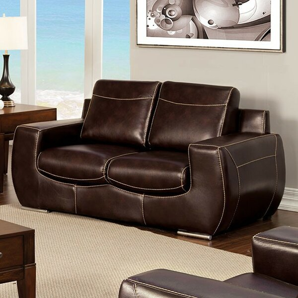 Aine Leather Loveseat by Brayden Studio