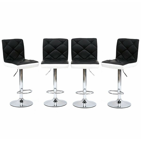 Martel Faux Leather Adjustable Height Swivel Bar Stool (Set of 4) by Orren Ellis