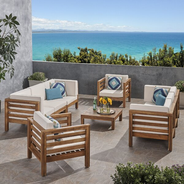 Zaina Outdoor 9 Piece Deep Seating Group with Cushions by Longshore Tides
