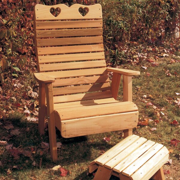 Cedar Furniture and Accessories Country Hearts Solid Wood Adirondack Chair with Ottoman by Creekvine Designs