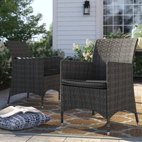 Brighton Deluxe Patio Dining Chair with Cushion (Set of 2) by Sol 72 Outdoor