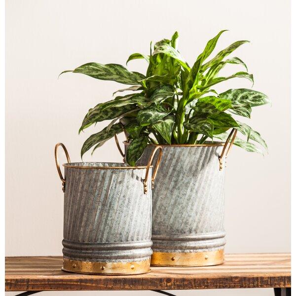 2-Piece Metal Pot Planter Set by Evergreen Enterprises, Inc