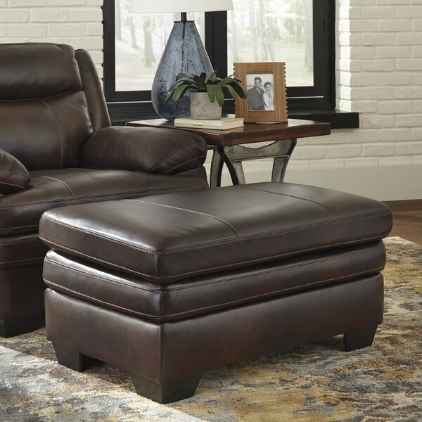 Dane Leather Ottoman By Loon Peak