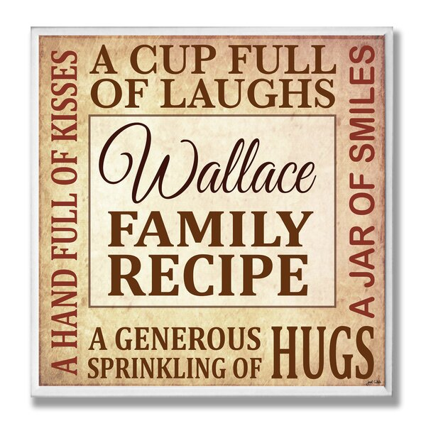 Personalized Family Recipe Textual Art Plaque by Stupell Industries