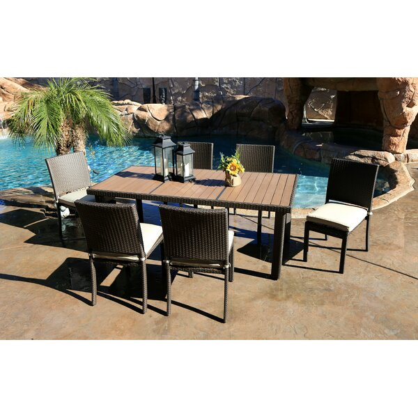 Tampa 7 Piece Dining Set with Cushions by World Wide Wicker