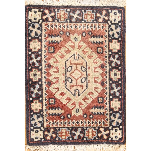 Sasser Heriz Oriental Hand-Knotted Wool Beige/Black/Brown Area Rug by Bloomsbury Market