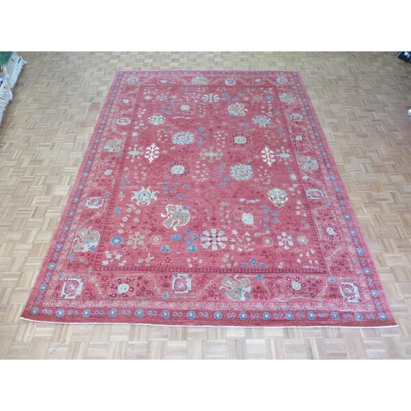 One-of-a-Kind Eibhlin Decorative Oushak Hand-Knotted Wool Pink Area Rug by World Menagerie