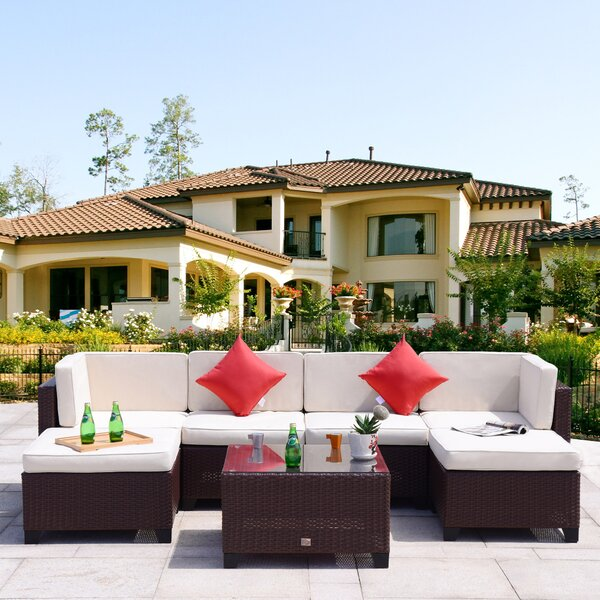 Maia 7 Piece Rattan Sectional Set with Cushions by Ebern Designs