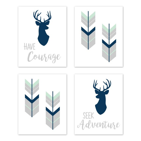 Woodsy 4 Piece Art Print Wall Hanging Set by Sweet Jojo Designs