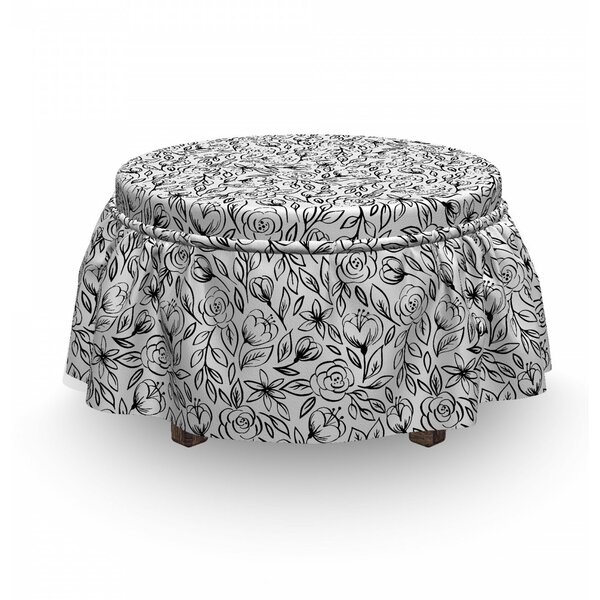 Hand Drawn Flowers Garden Ottoman Slipcover (Set Of 2) By East Urban Home