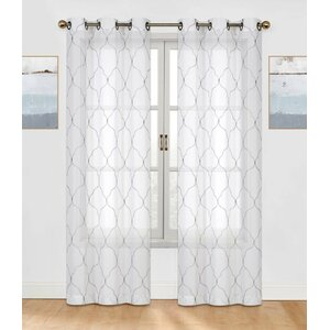 Brooking Embroidered Geometric Semi-Sheer Grommet Curtain Panels (Set of 2)