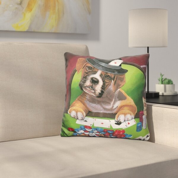 Poker Dogs Throw Pillow by East Urban Home
