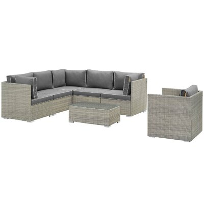 Heinrich 7 Piece Rattan Sectional Set with Cushions Cushion Color: Charcoal