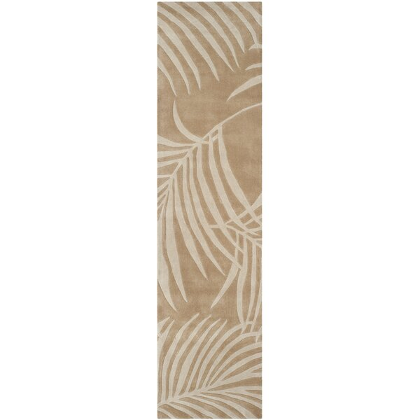 Palmnue Hand-Hooked Beige Area Rug by Bay Isle Home