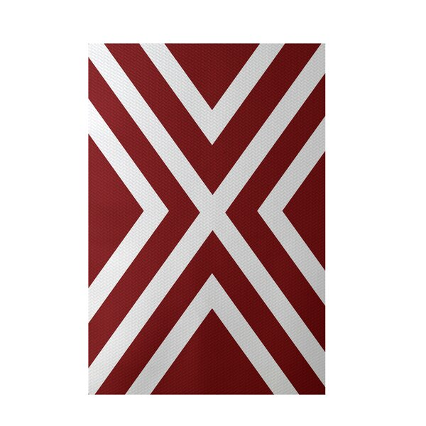 Stripe Red Indoor/Outdoor Area Rug by e by design