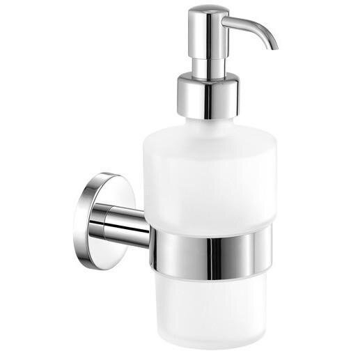 Skiles Wall Mounted Frosted Glass Pump Soap & Lotion Dispenser by Orren Ellis