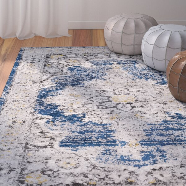 Ingram Medium Gray/Dark Blue Area Rug by World Menagerie