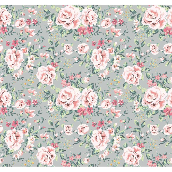 Removable Wallpaper Self Adhesive Pink Vintage Nursery Fl On Grey Background L Stick