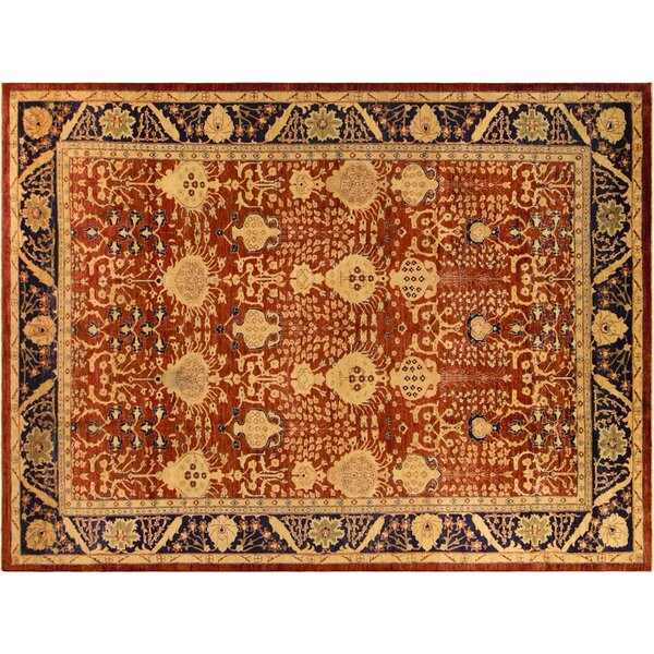 Xenos Hand-Knotted Rectangle Wool Rust/Blue Area Rug by Astoria Grand